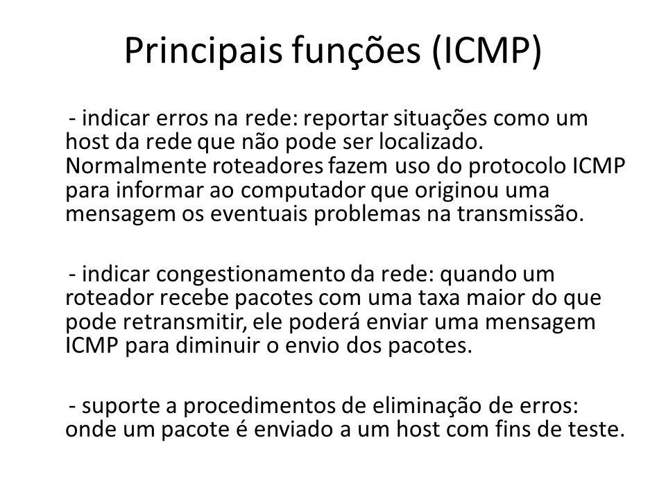 Principais funções (ICMP)