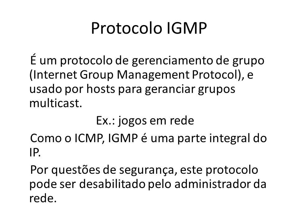 Protocolo IGMP