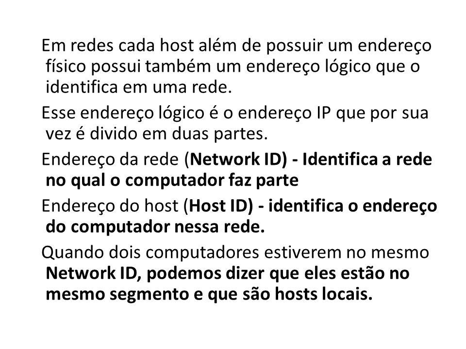 Em redes cada host além de possuir um endereço físico possui também um endereço lógico que o identifica em uma rede.