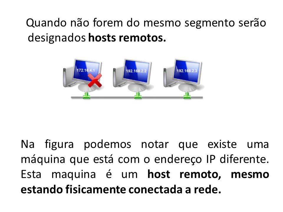 Quando não forem do mesmo segmento serão designados hosts remotos.