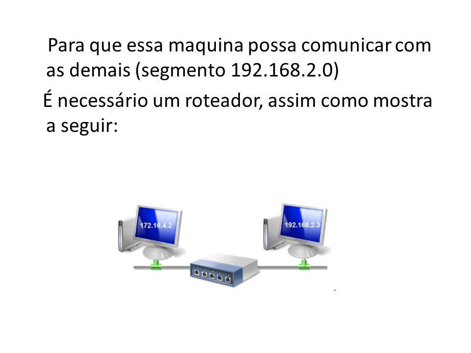 Para que essa maquina possa comunicar com as demais (segmento 192. 168