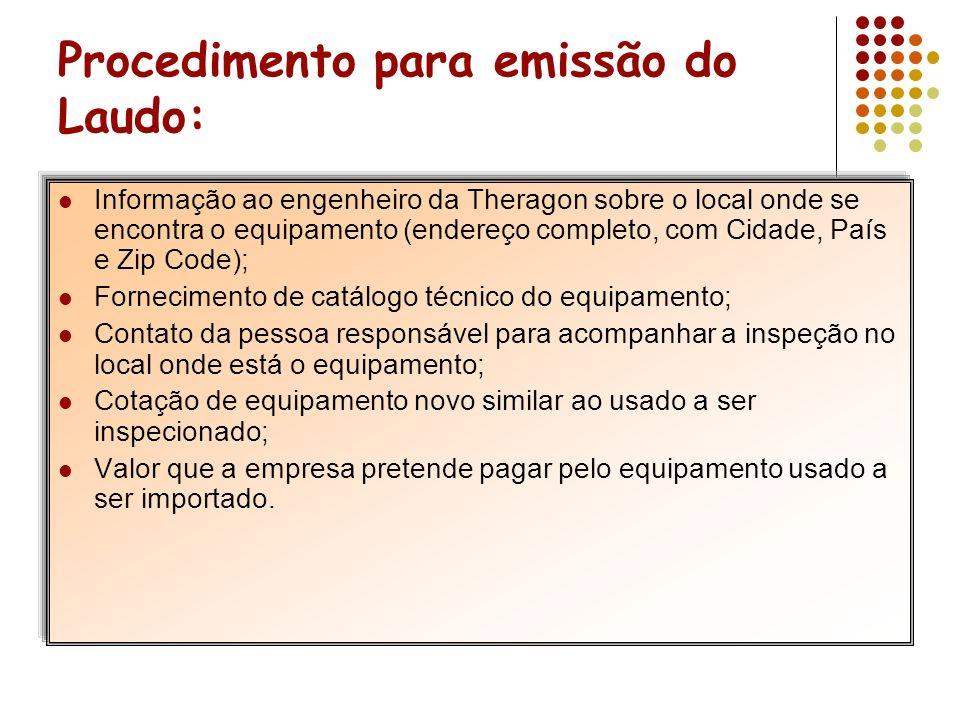 Procedimento para emissão do Laudo: