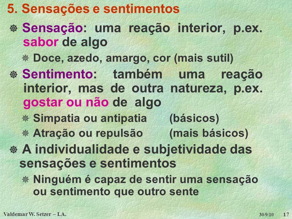 5. Sensações e sentimentos
