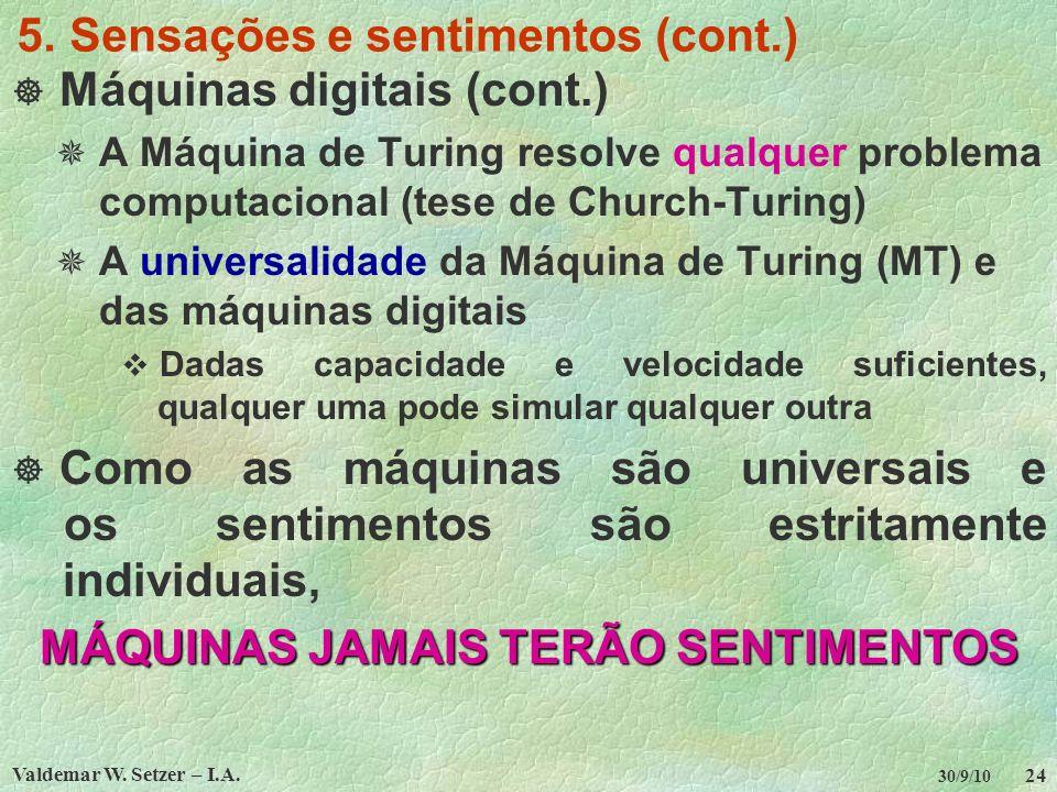 5. Sensações e sentimentos (cont.)