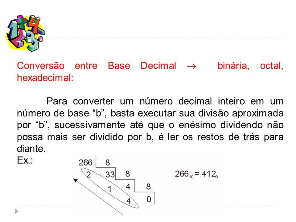 Conversão entre Base Decimal  binária, octal, hexadecimal: