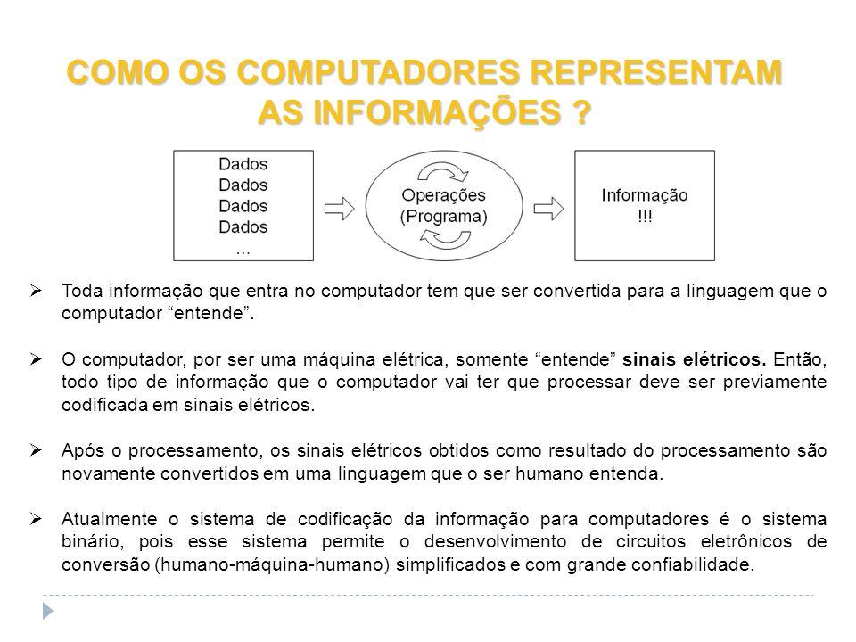COMO OS COMPUTADORES REPRESENTAM AS INFORMAÇÕES