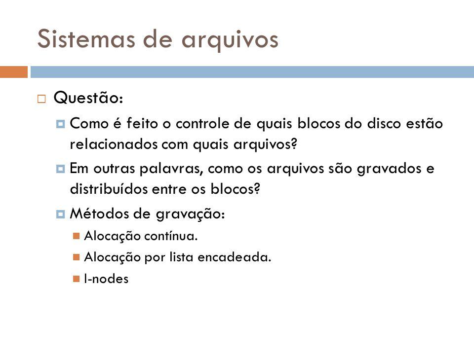 Sistemas de arquivos Questão:
