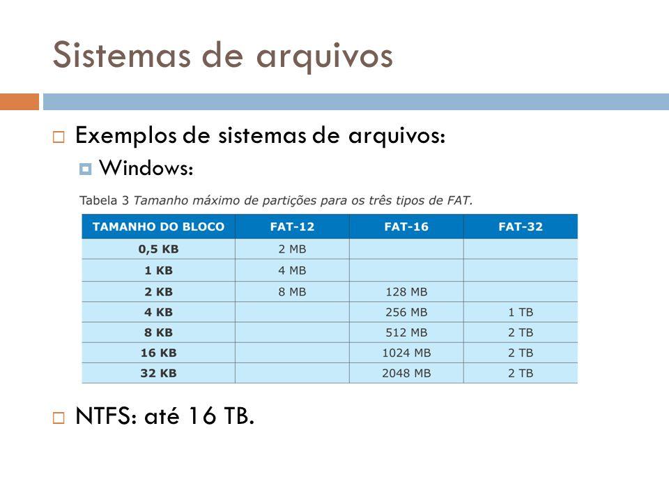 Sistemas de arquivos Exemplos de sistemas de arquivos: