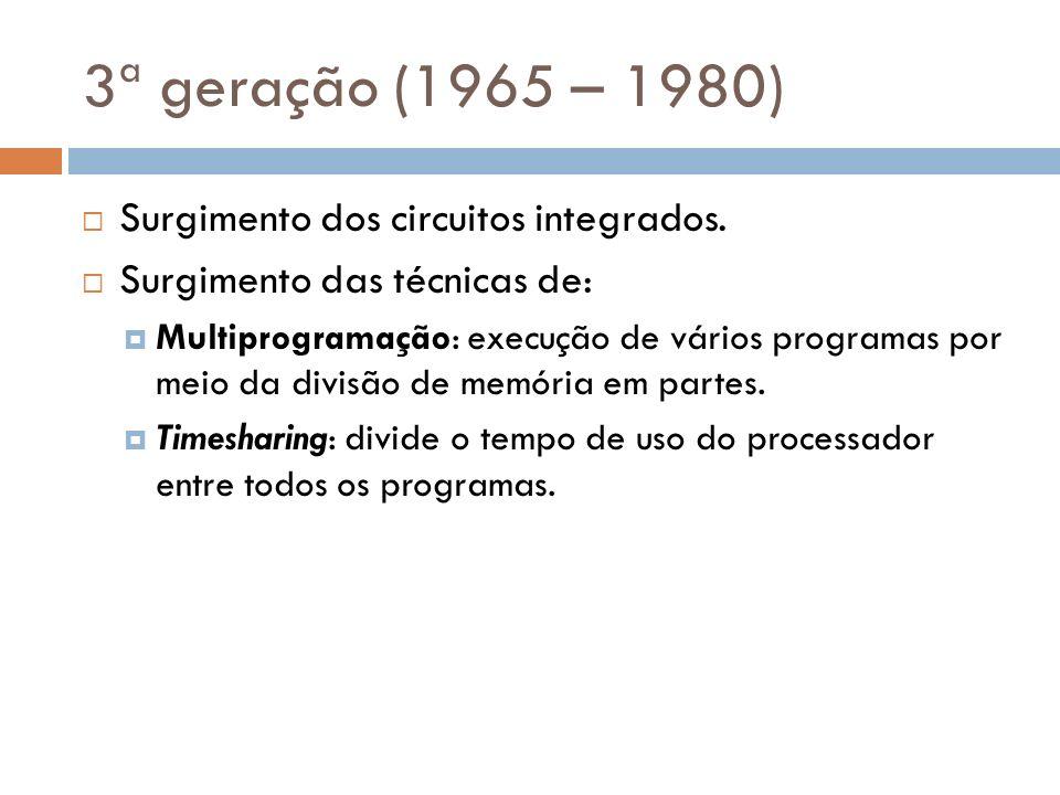 3ª geração (1965 – 1980) Surgimento dos circuitos integrados.