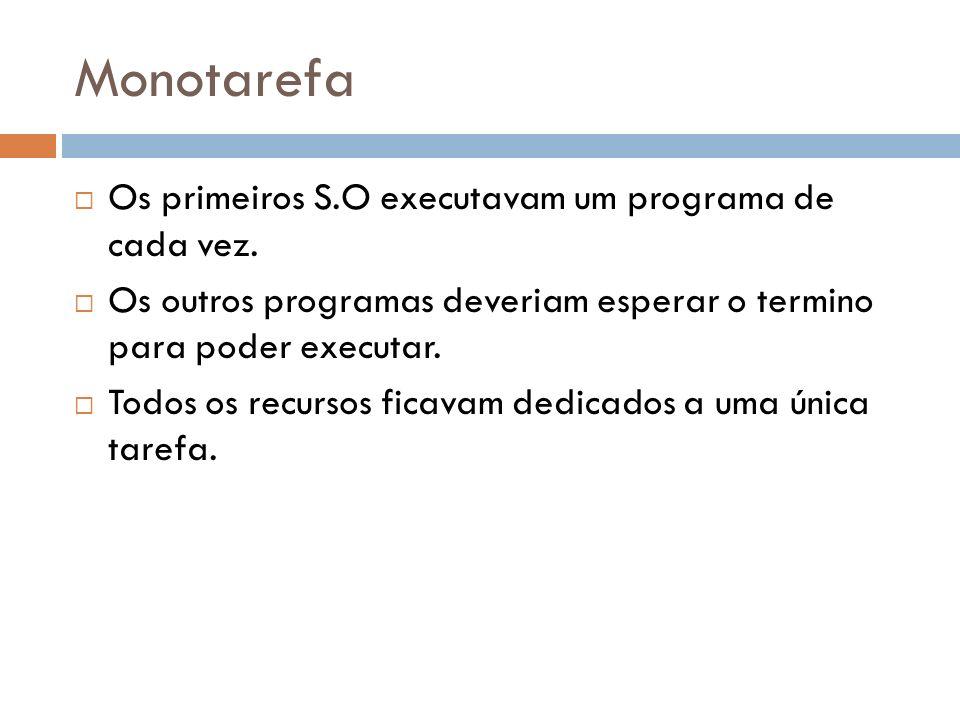 Monotarefa Os primeiros S.O executavam um programa de cada vez.