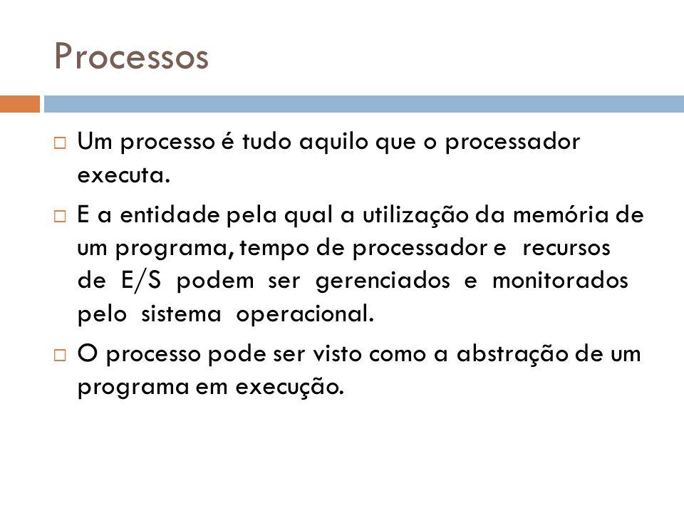Processos Um processo é tudo aquilo que o processador executa.