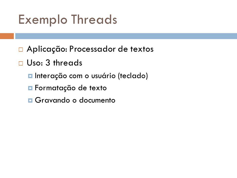 Exemplo Threads Aplicação: Processador de textos Uso: 3 threads