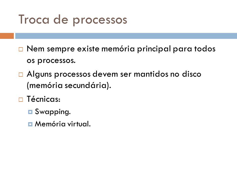 Troca de processos Nem sempre existe memória principal para todos os processos. Alguns processos devem ser mantidos no disco (memória secundária).
