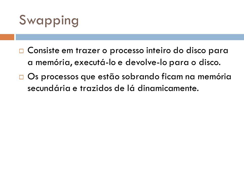 Swapping Consiste em trazer o processo inteiro do disco para a memória, executá-lo e devolve-lo para o disco.
