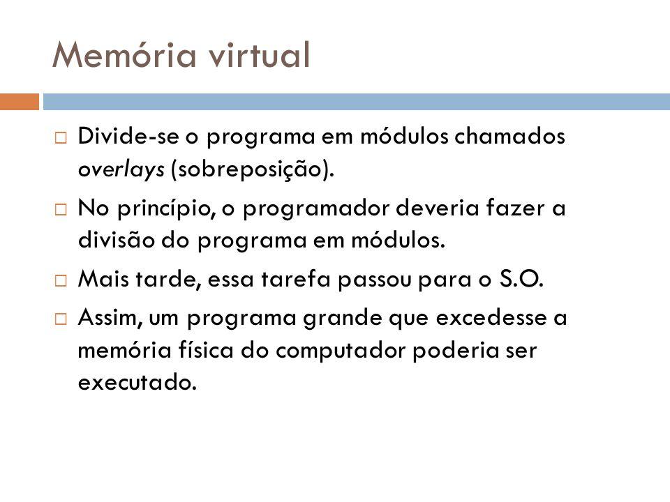 Memória virtual Divide-se o programa em módulos chamados overlays (sobreposição).