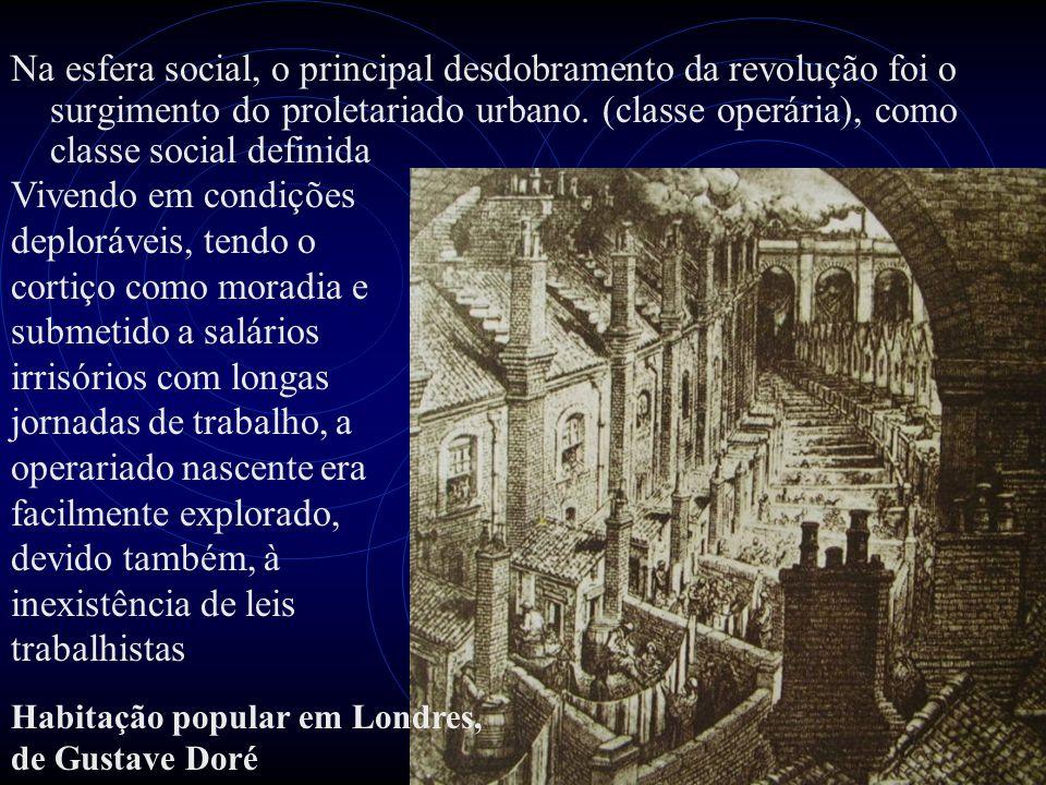 Na esfera social, o principal desdobramento da revolução foi o surgimento do proletariado urbano. (classe operária), como classe social definida