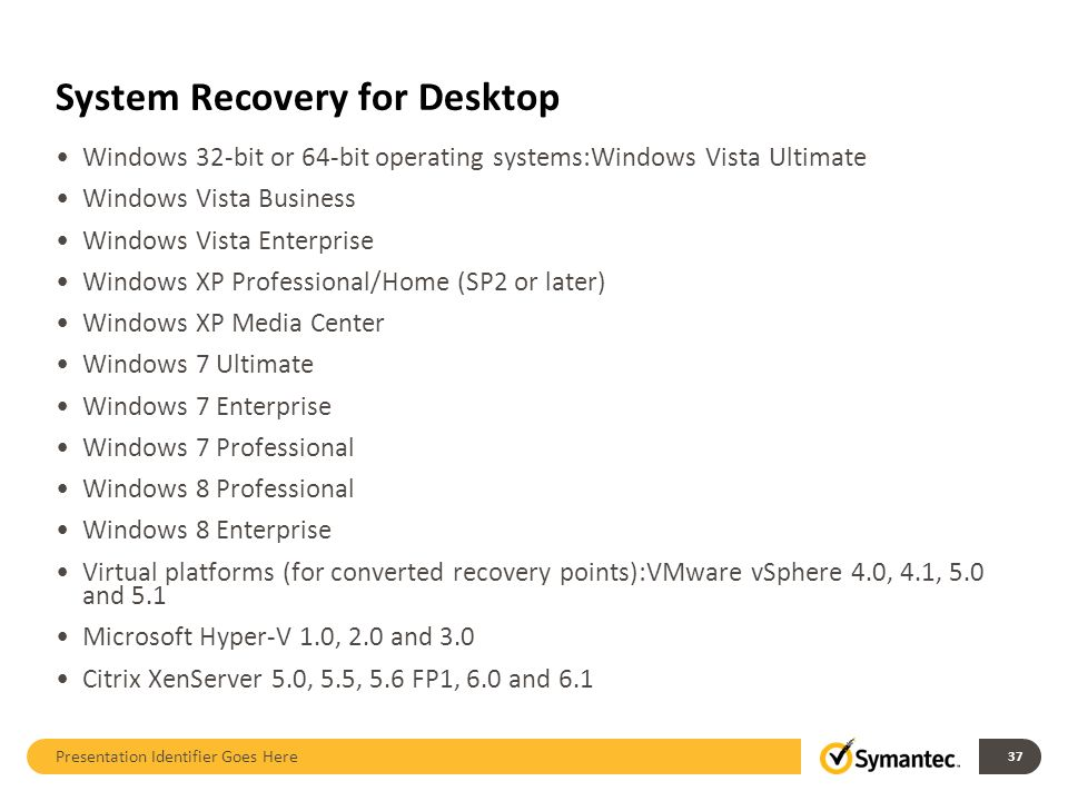 System Recovery for Desktop