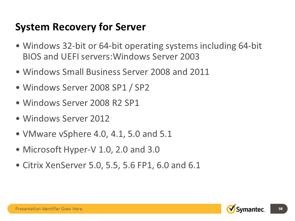 System Recovery for Server