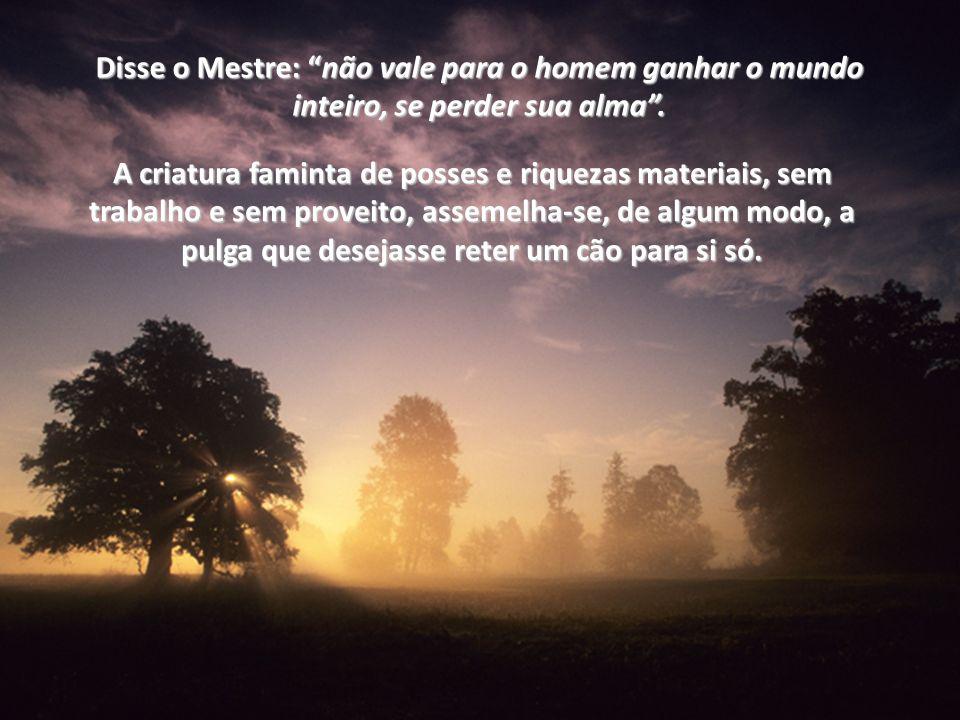 Disse o Mestre: não vale para o homem ganhar o mundo inteiro, se perder sua alma .