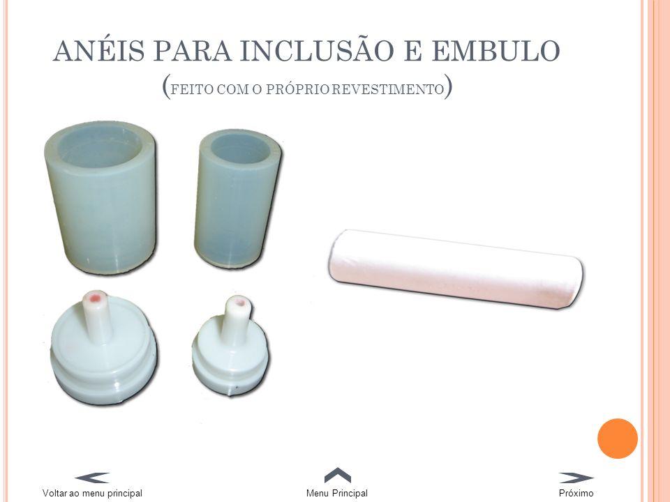 ANÉIS PARA INCLUSÃO E EMBULO (FEITO COM O PRÓPRIO REVESTIMENTO)