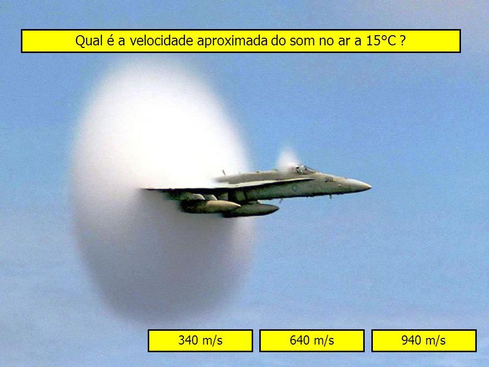 Qual é a velocidade aproximada do som no ar a 15°C