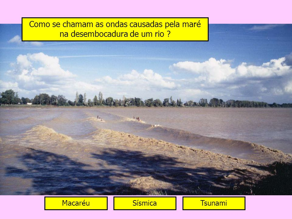 Como se chamam as ondas causadas pela maré na desembocadura de um rio