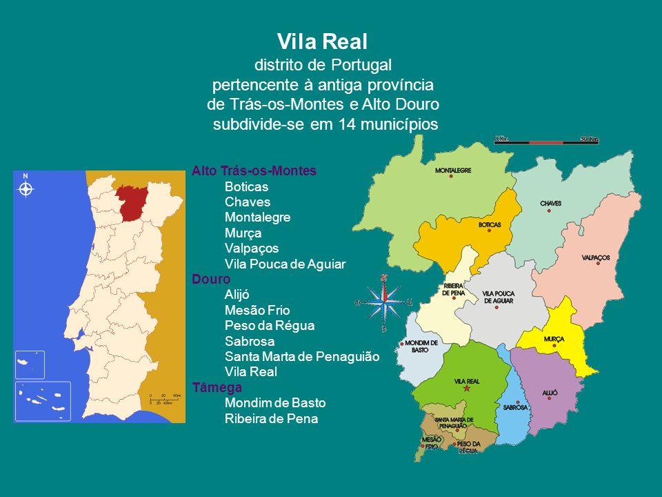 Vila Real distrito de Portugal pertencente à antiga província