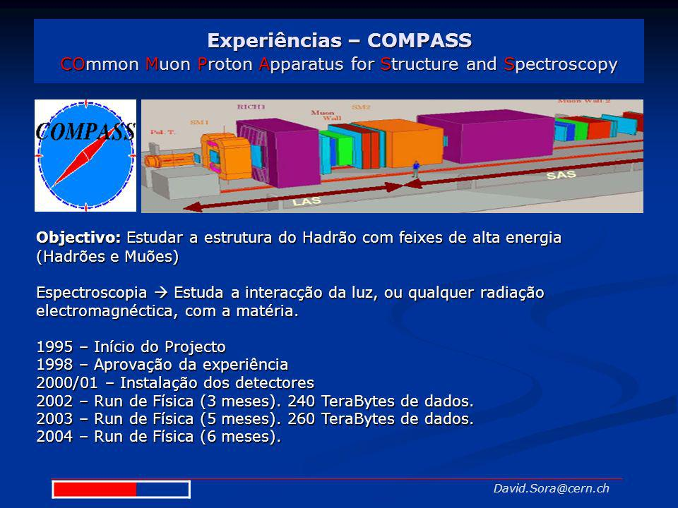 Experiências – COMPASS COmmon Muon Proton Apparatus for Structure and Spectroscopy