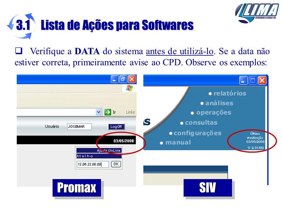 3.1 Lista de Ações para Softwares