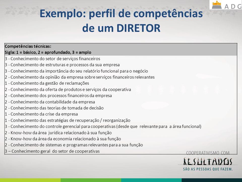 Exemplo: perfil de competências