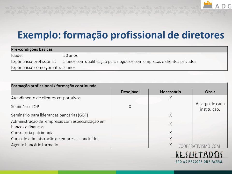 Exemplo: formação profissional de diretores