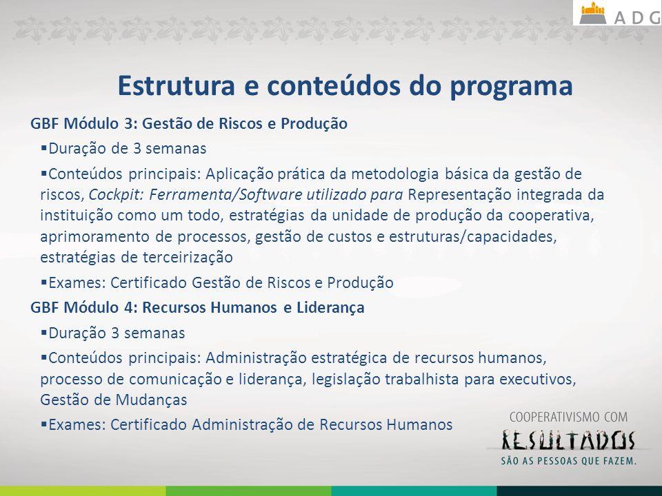 Estrutura e conteúdos do programa