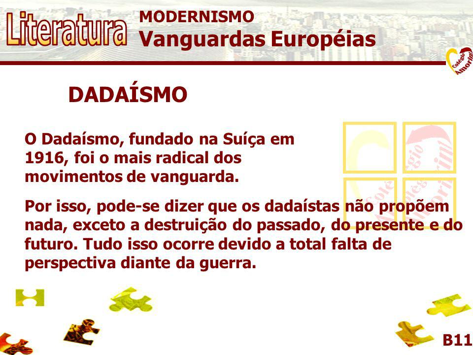 Literatura Vanguardas Européias DADAÍSMO MODERNISMO
