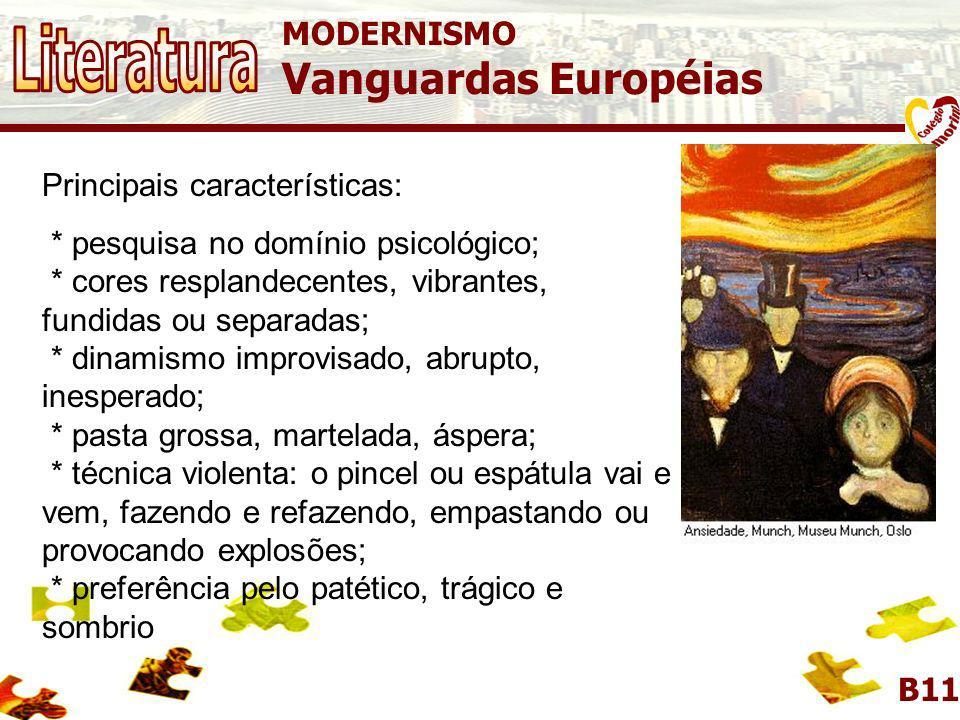 Literatura Vanguardas Européias MODERNISMO Principais características: