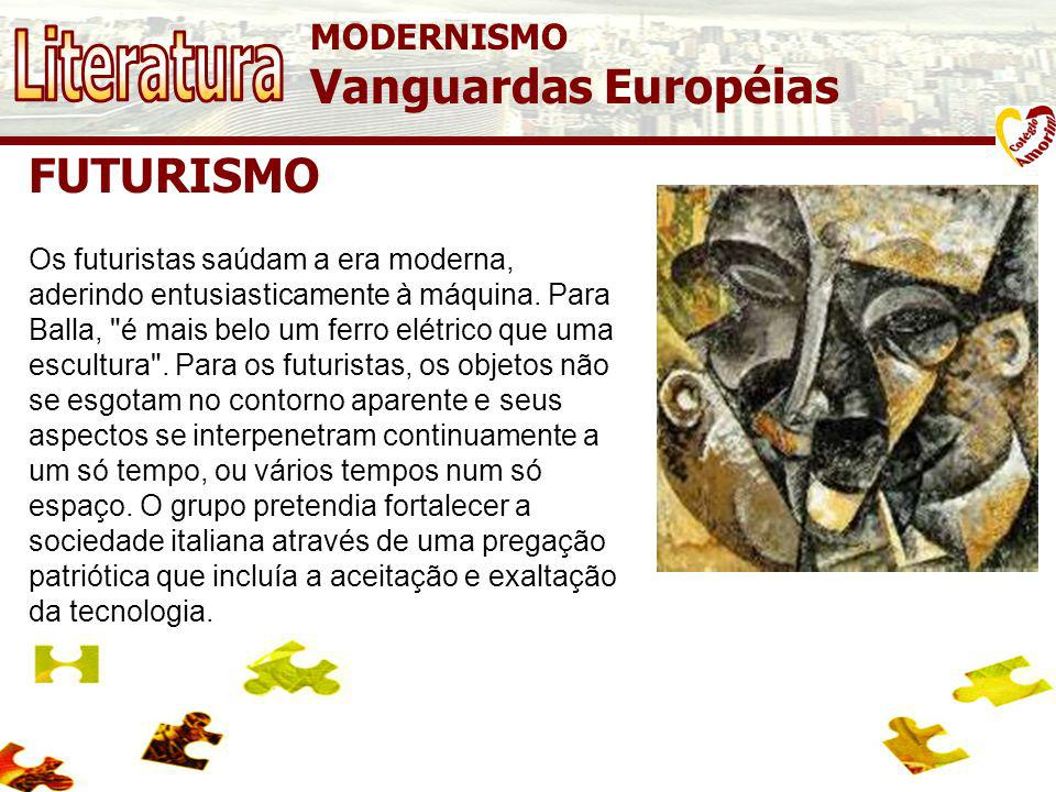 Literatura Vanguardas Européias FUTURISMO MODERNISMO