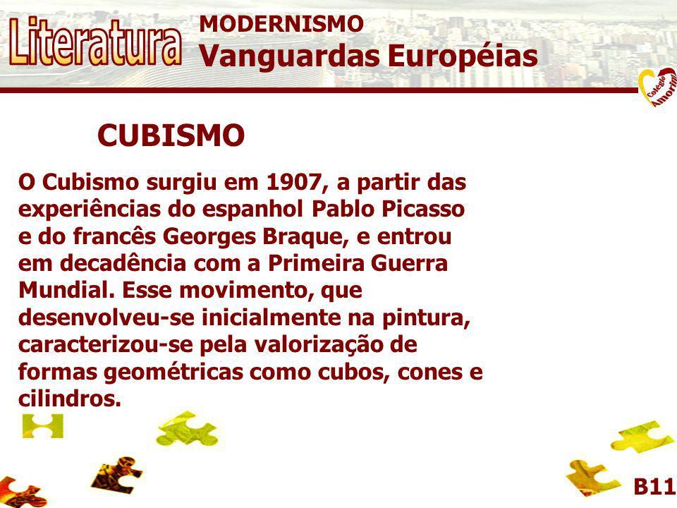 Literatura Vanguardas Européias CUBISMO MODERNISMO