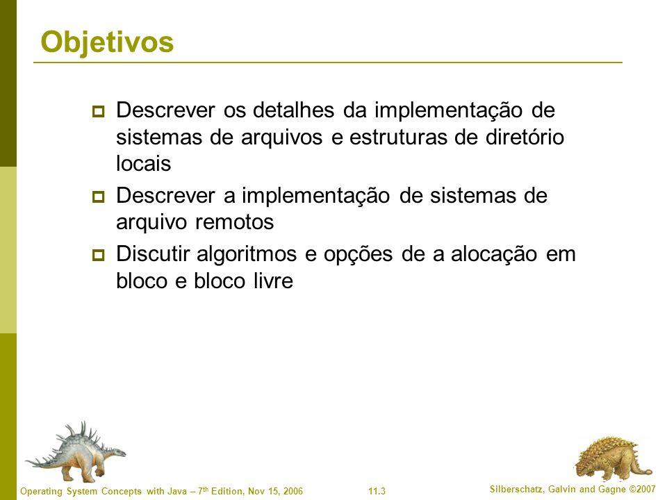 Objetivos Descrever os detalhes da implementação de sistemas de arquivos e estruturas de diretório locais.