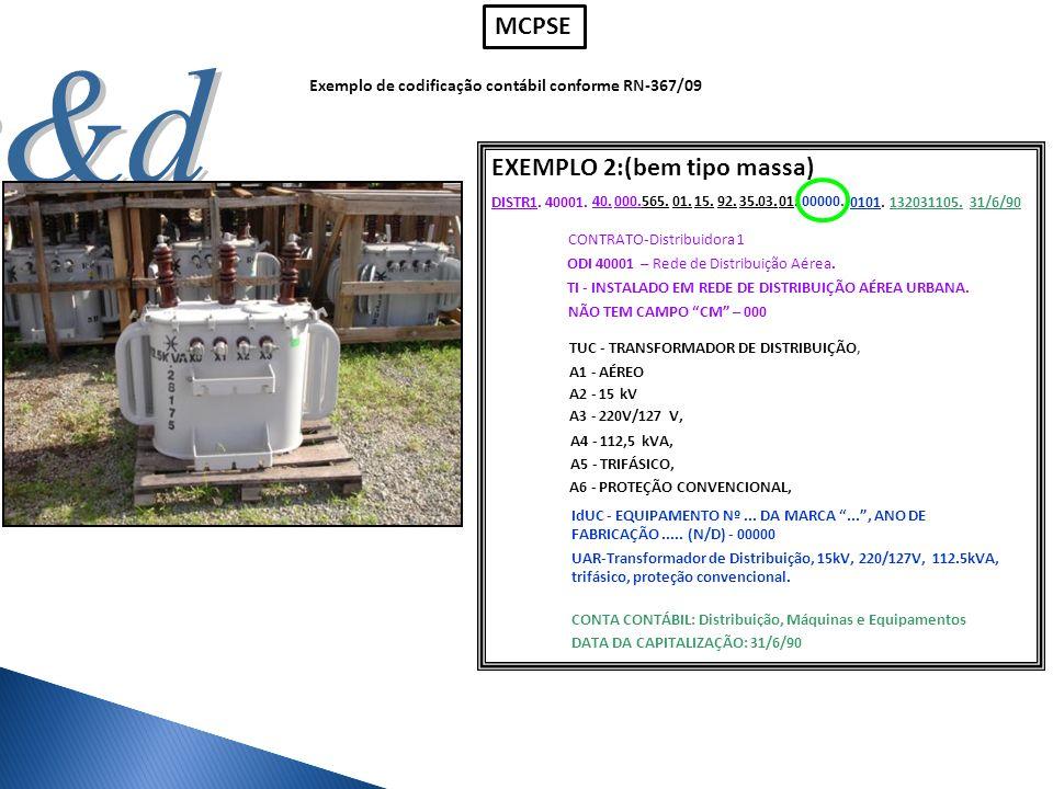 Exemplo de codificação contábil conforme RN-367/09