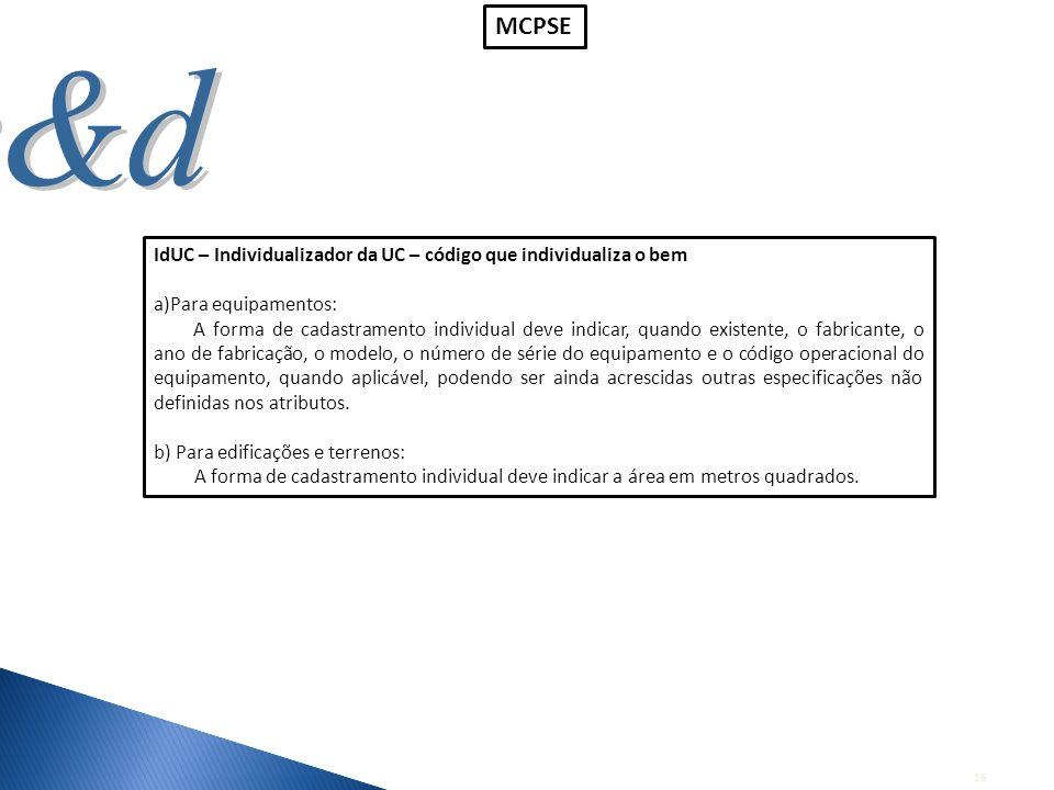 MCPSE IdUC – Individualizador da UC – código que individualiza o bem