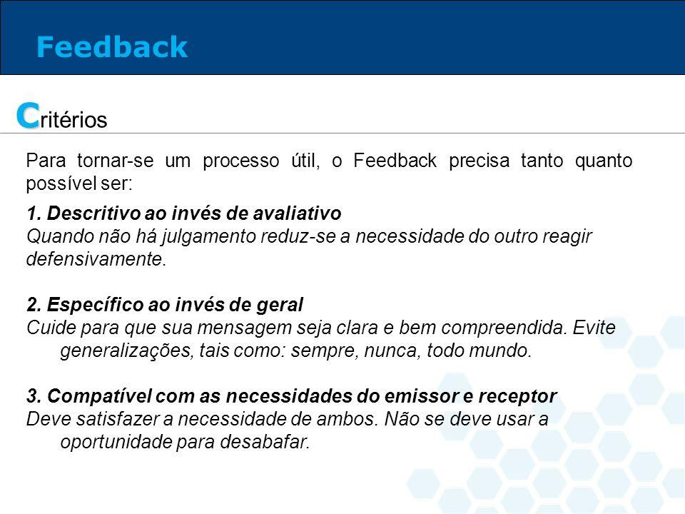 Feedback Critérios. Para tornar-se um processo útil, o Feedback precisa tanto quanto possível ser: