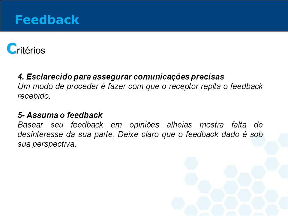 Critérios Feedback 4. Esclarecido para assegurar comunicações precisas