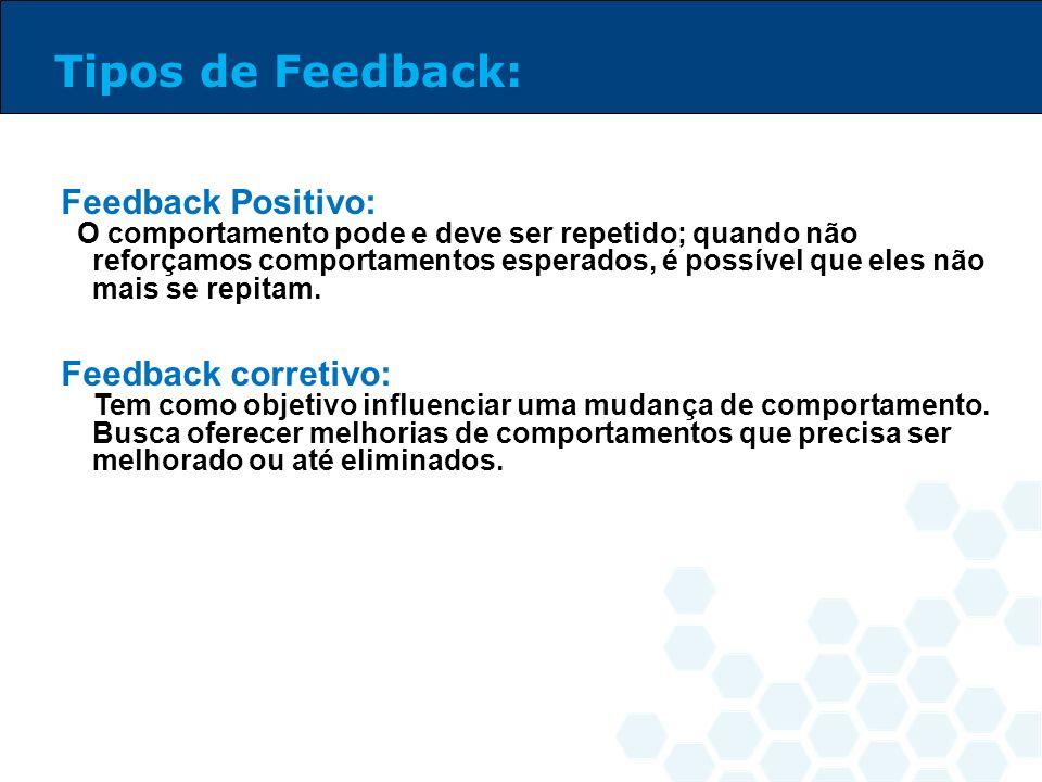 Tipos de Feedback: Feedback Positivo: Feedback corretivo:
