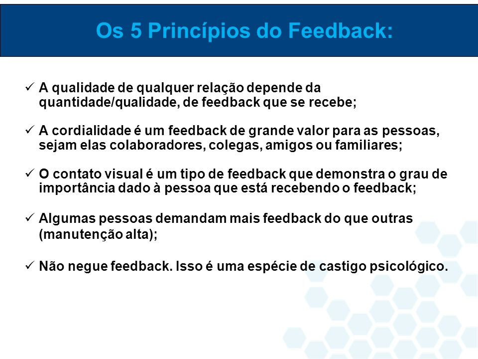 Os 5 Princípios do Feedback: