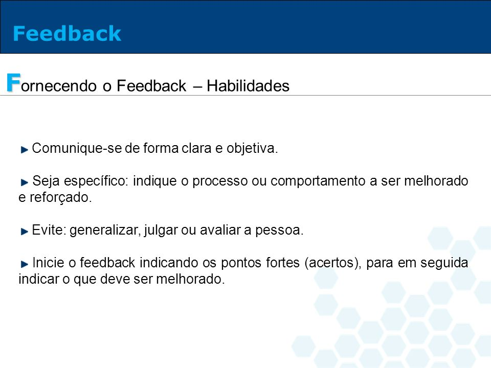 Fornecendo o Feedback – Habilidades