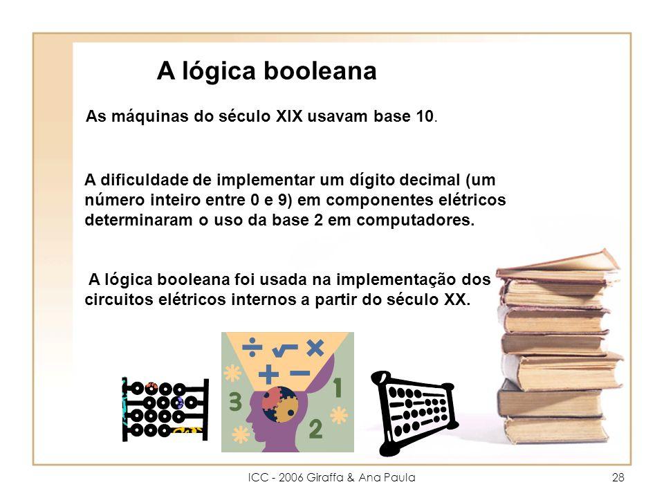 A lógica booleana As máquinas do século XIX usavam base 10.
