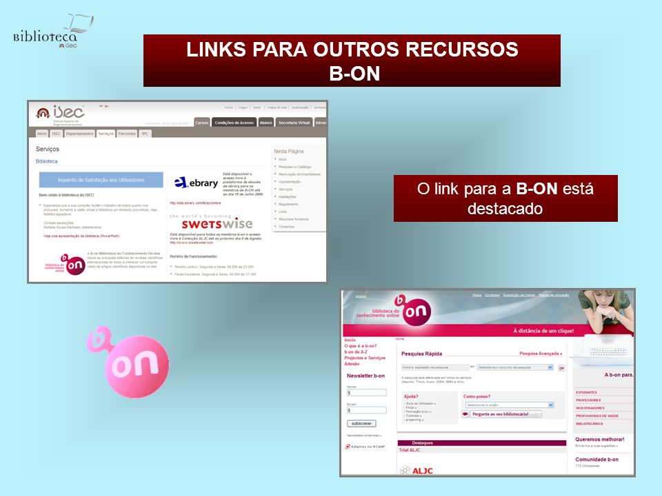 LINKS PARA OUTROS RECURSOS B-ON