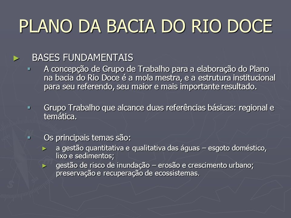 PLANO DA BACIA DO RIO DOCE