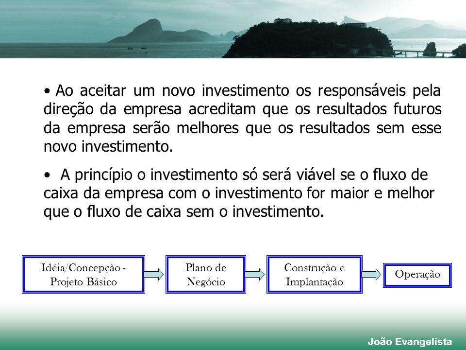 Ao aceitar um novo investimento os responsáveis pela direção da empresa acreditam que os resultados futuros da empresa serão melhores que os resultados sem esse novo investimento.