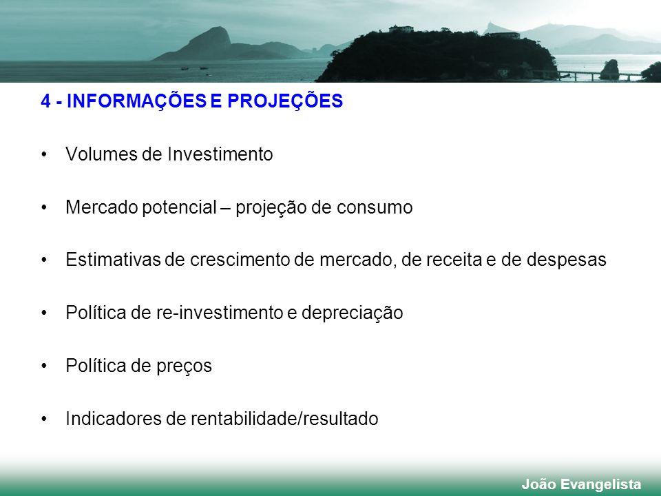 4 - INFORMAÇÕES E PROJEÇÕES Volumes de Investimento