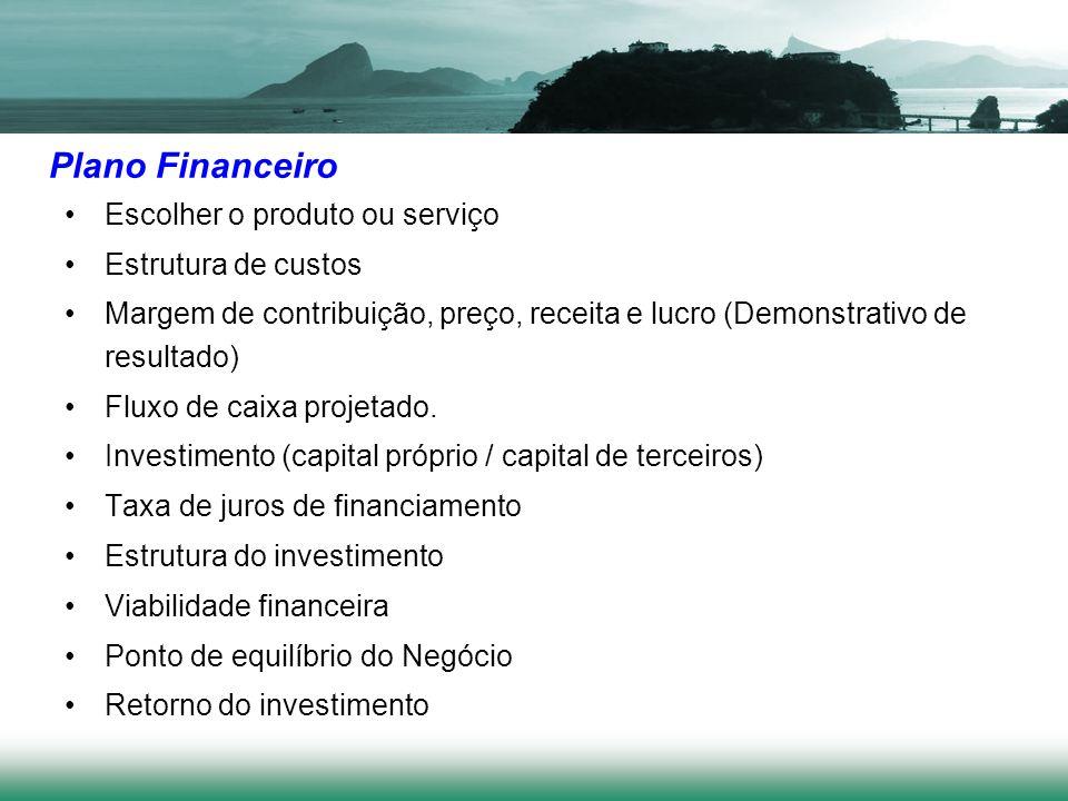 Plano Financeiro Escolher o produto ou serviço Estrutura de custos